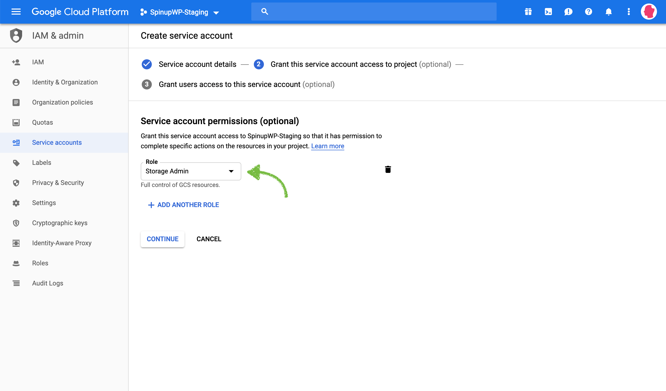 Google Cloud Storage select role