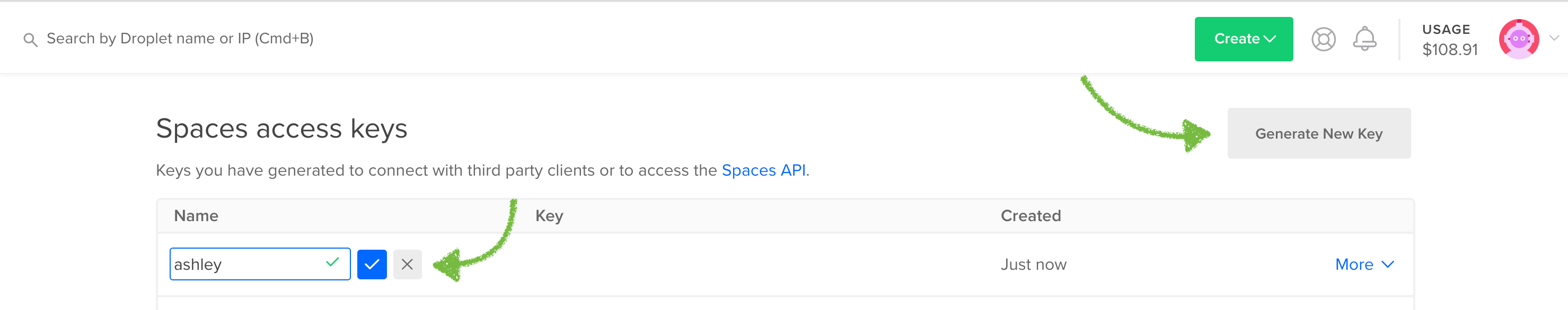 DigitalOcean Spaces Access Keys