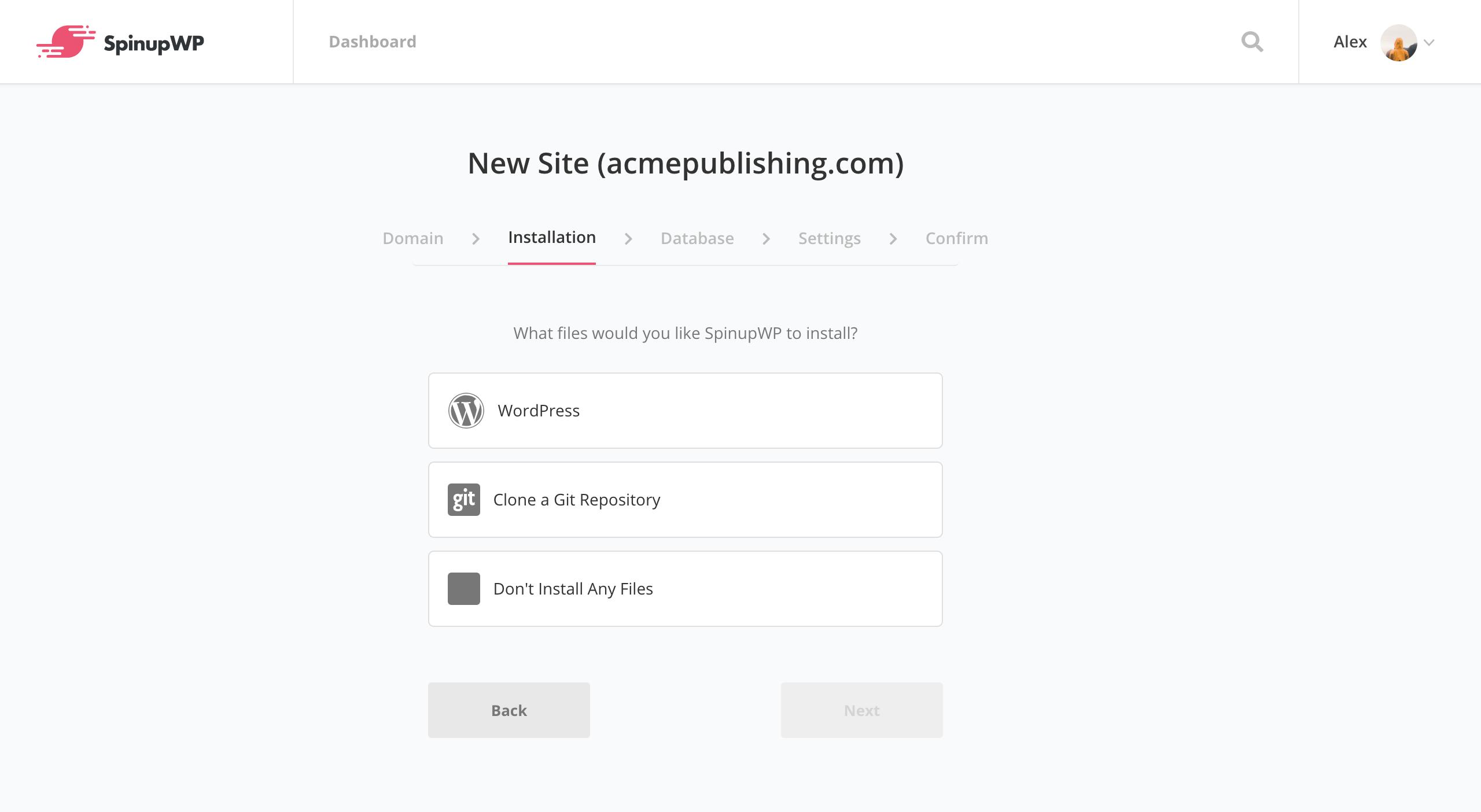 SpinupWP new site installation